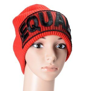 """Versace """"Equality"""" Unisex 100% Wool Red Beanie Hat"""